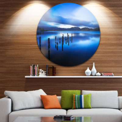 Designart Blue Lake Sunset with Pier Landscape Photography Circle Metal Wall Art