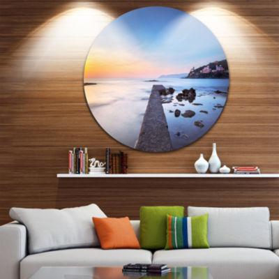 Designart Castiglioncello Bay Concrete Pier Seascape Circle Metal Wall Art