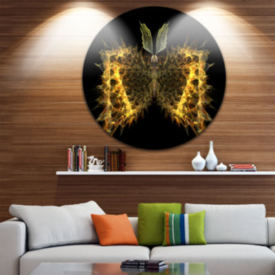 Designart Golden Fractal Butterfly in Dark Abstract Circle Metal Wall Art