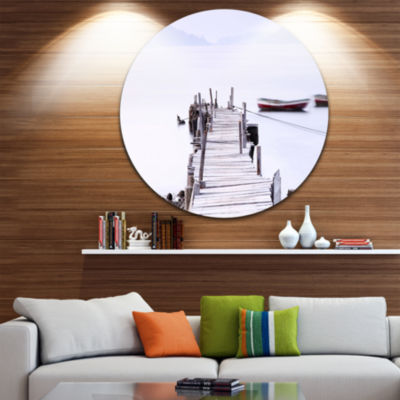 Designart Foggy Sea with Pier and Boats Seascape Circle Metal Wall Art