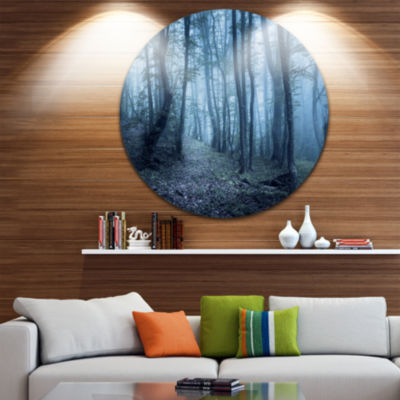 Designart Spring Foggy Forest Trees Landscape Photography Circle Metal Wall Art
