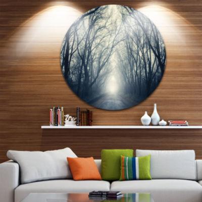 Designart Dark Autumn Forest in Fog Photography Circle Metal Wall Art