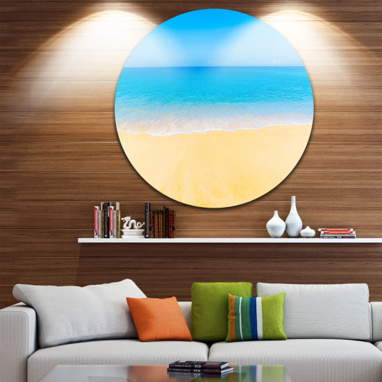 Designart Calm Blue Sea and Sky Seascape Circle Metal Wall Art