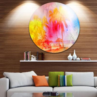 Designart Retro Palms Yellow Watercolor Trees Painting Circle Metal Wall Art
