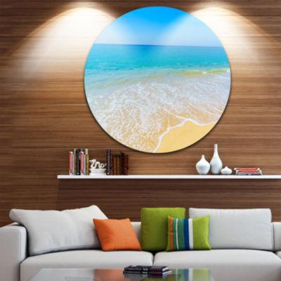 Designart Calm Blue Sea Waves Seascape Circle Metal Wall Art