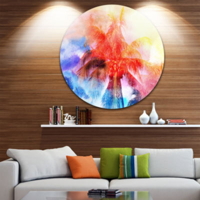 Designart Retro Palms Red Watercolor Trees Painting Circle Metal Wall Art
