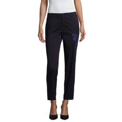 Liz Claiborne Embroidered Ankle Pants - Tall
