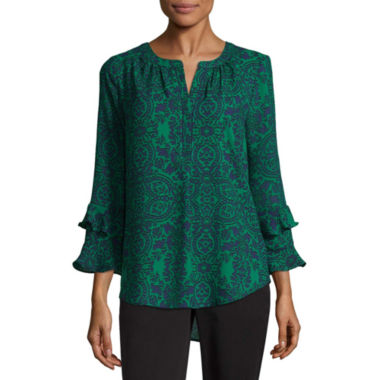 Liz Claiborne 3/4 Sleeve Split Crew Neck Woven Blouse - Tall