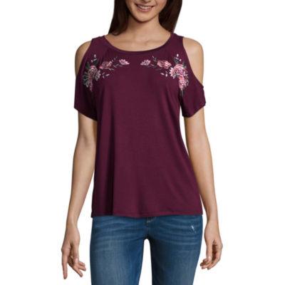 Arizona Short Sleeve Scoop Neck T-Shirt-Womens Juniors
