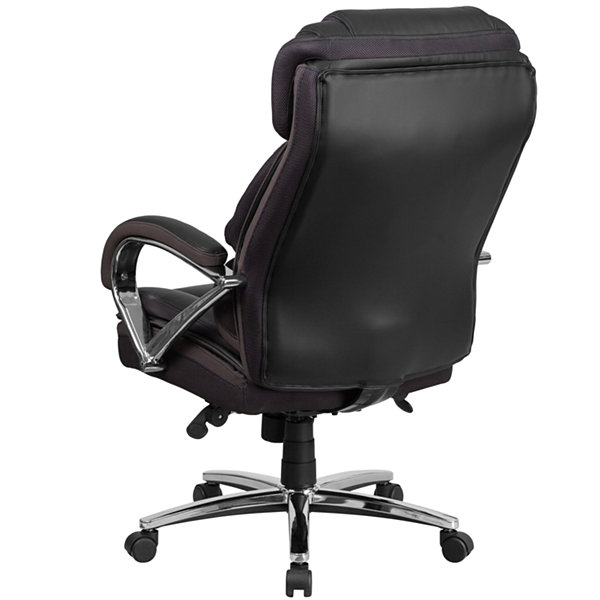 HERCULES Series Big & Tall 500 lb. Rated Black Leather Executive Swivel Chair with Chrome Base and Arms