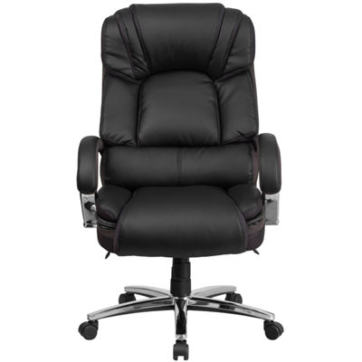 HERCULES Series Big & Tall 500 lb. Rated Leather Executive Swivel Chair with Chrome Base and Arms