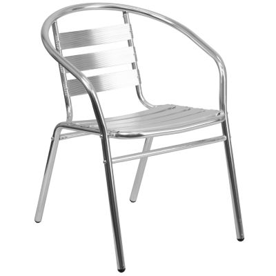 Aluminum Commercial Indoor-Outdoor Restaurant Stack Chair with Triple Slat Back