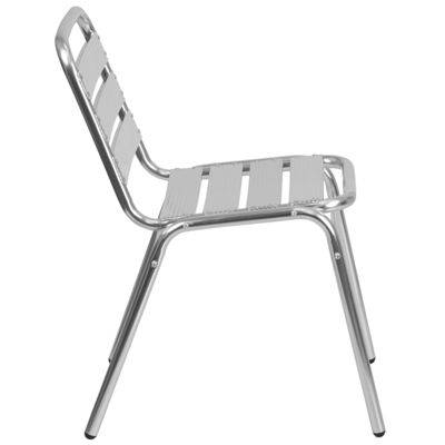 Aluminum Commercial Indoor-Outdoor Armless Restaurant Stack Chair with Triple Slat Back
