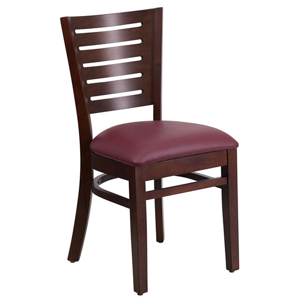 Darby Series Slat Back Walnut Wood Restaurant Chair with Vinyl Seat