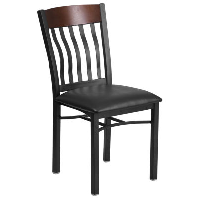 Eclipse Series Vertical Back Metal and Wood Restaurant Chair with Vinyl Seat