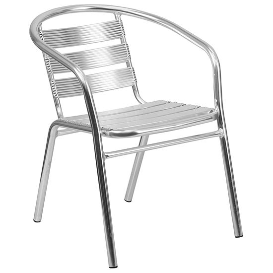 Heavy Duty Aluminum Commercial Indoor Outdoor Restaurant Stack Chair With Triple Slat Back