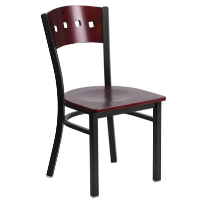 Hercules Series Black Decorative 4 Square Back Metal Restaurant Chair