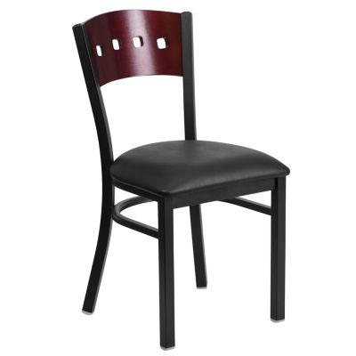 Hercules Series Black Decorative 4 Square Back Metal Restaurant Chair