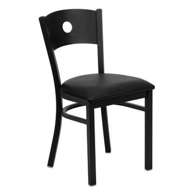 HERCULES Series Circle Back Metal Restaurant Chair with Vinyl Seat