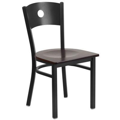 HERCULES Series Circle Back Metal Restaurant Chair with Wood Seat
