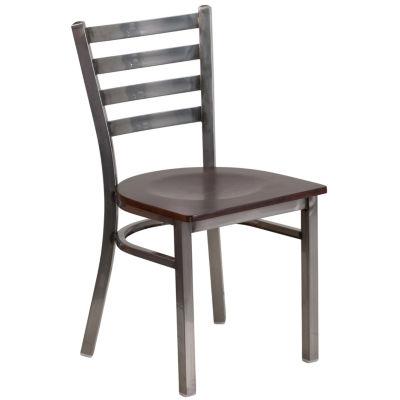 HERCULES Series Clear Coated Ladder Back Metal Restaurant Chair