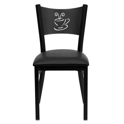 Hercules Series Black Coffee Back Metal RestaurantChair