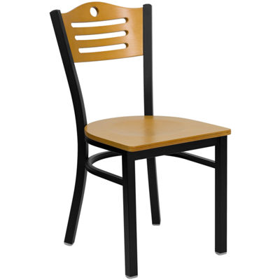 Hercules Series Black Slat Back Metal Restaurant Chair