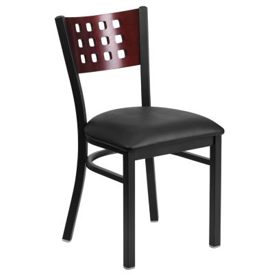 Hercules Series Black Decorative Cutout Back MetalRestaurant Chair