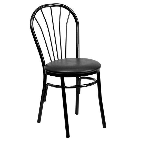HERCULES Series Fan Back Metal Chair - Vinyl Seat