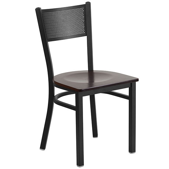Hercules Series Black Grid Back Metal Restaurant Chair