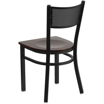Hercules Series Black Grid Back Metal Restaurant Chair