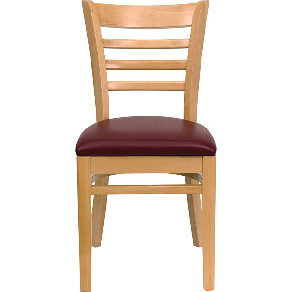 HERCULES Series Ladder Back Natural Wood Restaurant Chair with Vinyl Seat