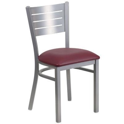 Hercules Series Silver Slat Back Metal Restaurant Chair