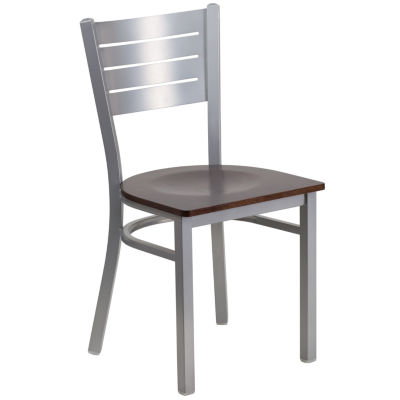 Hercules Series Silver Slat Back Metal Restaurant Chair