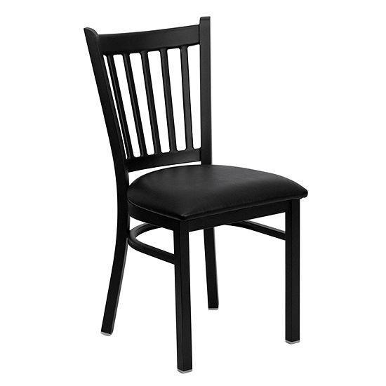 Hercules Series Black Vertical Back Metal Restaurant Chair