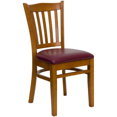 HERCULES Series Vertical Slat Back Cherry Wood Restaurant Chair with Vinyl Seat
