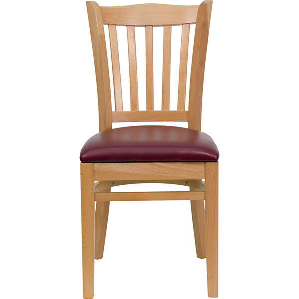 HERCULES Series Vertical Slat Back Natural Wood Restaurant Chair with Vinyl Seat
