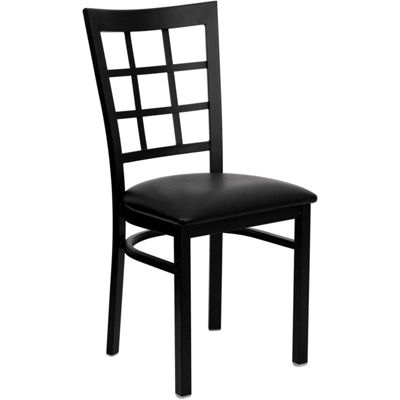 Hercules Series Black Window Back Metal RestaurantChair