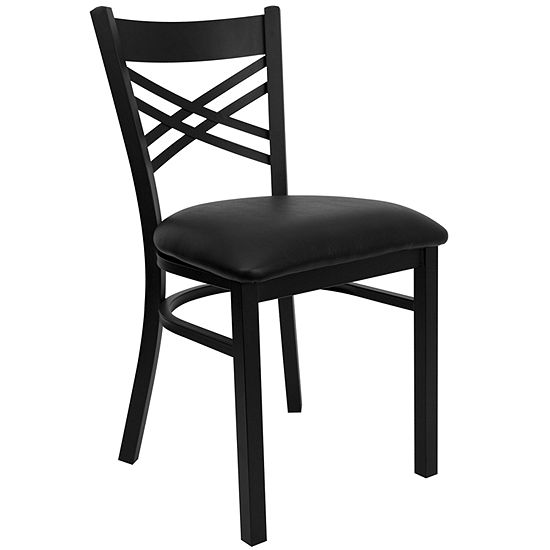 Hercules Series Black ''X'' Back Metal Restaurant Chair