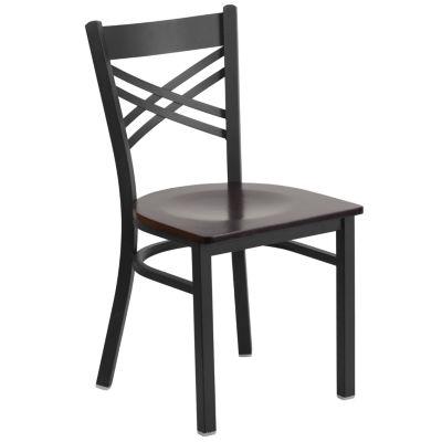 Hercules Series Black ''X'' Back Metal Restaurant Chair