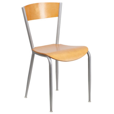 Invincible Series Silver Metal Restaurant Chair with Wood Back and Seat