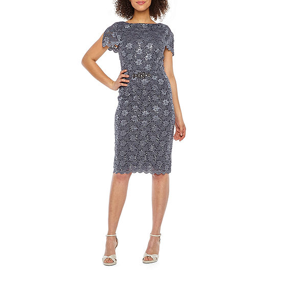 Jackie Jon Short Sleeve Lace Sheath Dress