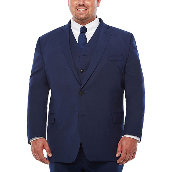 JF J. Ferrar Dark Blue Texture Suit Separates-Big and Tall