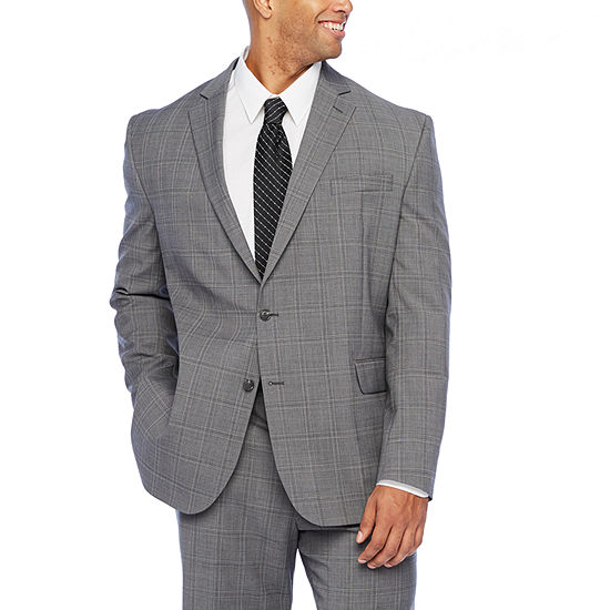 Stafford Gray Plaid Super Suit Stretch Big and Tall Suit Separates