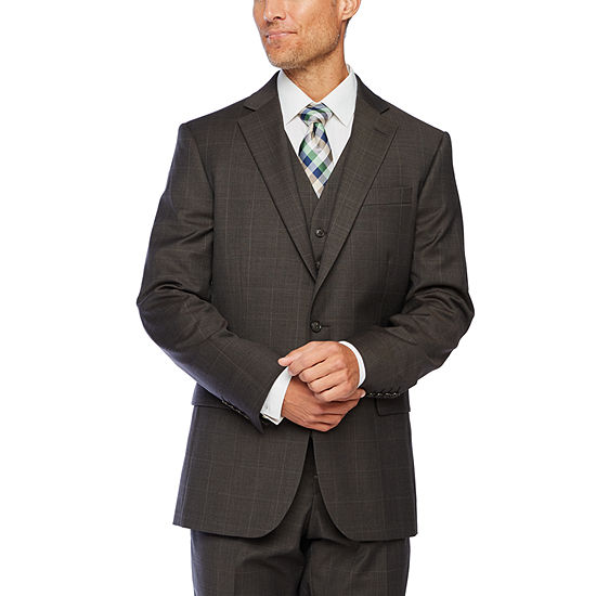Stafford Super Suit Brown Windowpane Classic Fit Suit Separates