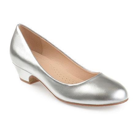 Vintage Shoes, Vintage Style Shoes Journee Collection Womens Saar Pumps Block Heel 5 12 Medium Silver $47.99 AT vintagedancer.com