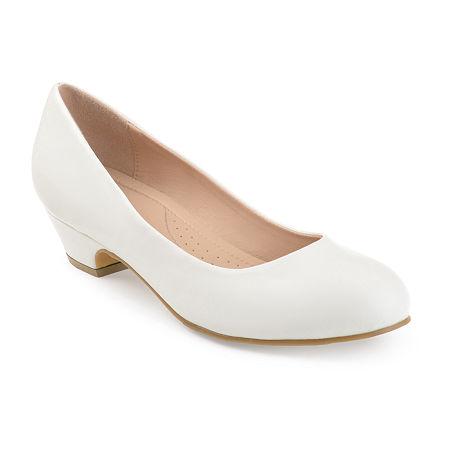 Vintage Shoes, Vintage Style Shoes Journee Collection Womens Saar Pumps Block Heel 12 Medium White $55.99 AT vintagedancer.com