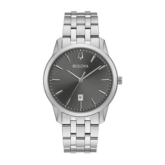 Bulova Classic Mens Silver Tone Stainless Steel Bracelet Watch - 96b341