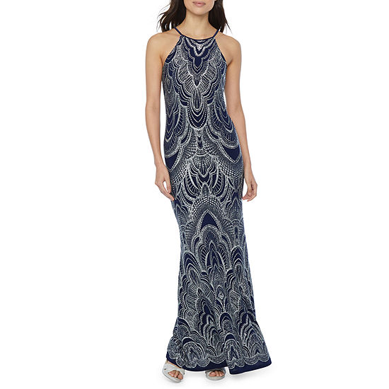 Blu Sage Sleeveless Glitter Knit Evening Gown