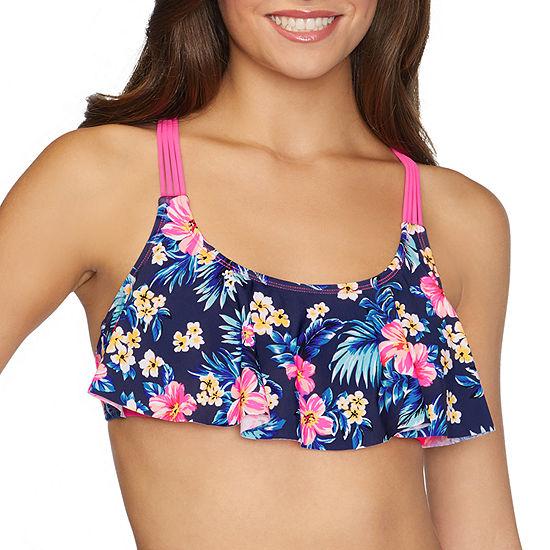 Arizona Floral Flounce Swimsuit Top Juniors